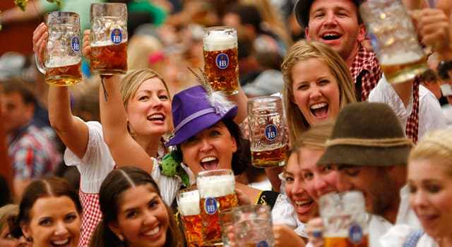 Society Trivia Question: Approximately how many litres of beer are sold each year at the Munich Oktoberfest?