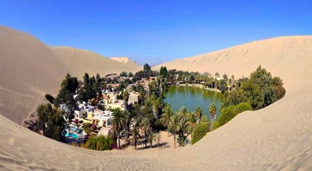 Geografía Pregunta Trivia: ¿Cómo se llama el único oasis americano ubicado en ei desierto costero del Perú?