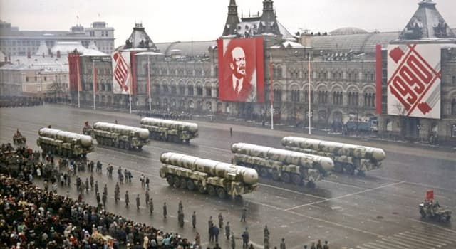 History Trivia Question: What incident occurred at the 1990 October Revolution Parade in Moscow?