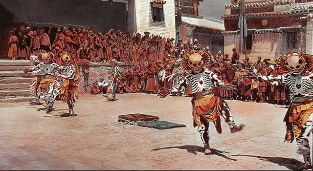 Culture Trivia Question: Where would you observe the sacred skeleton dance as depicted in this picture?