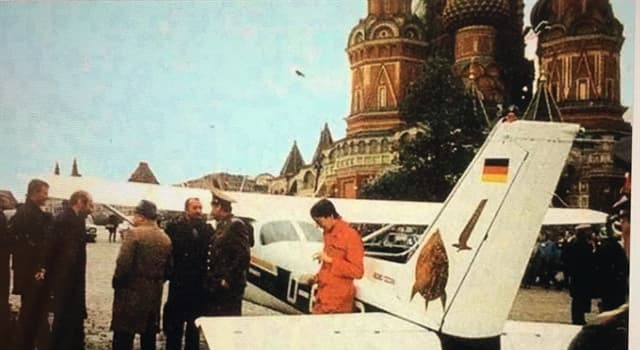 History Trivia Question: Why did Mathias Rust fly from the Helsinki-Malmi Airport and land his Cessna 172 in Moscow, on a bridge near St. Basil's Cathedral in 1987?