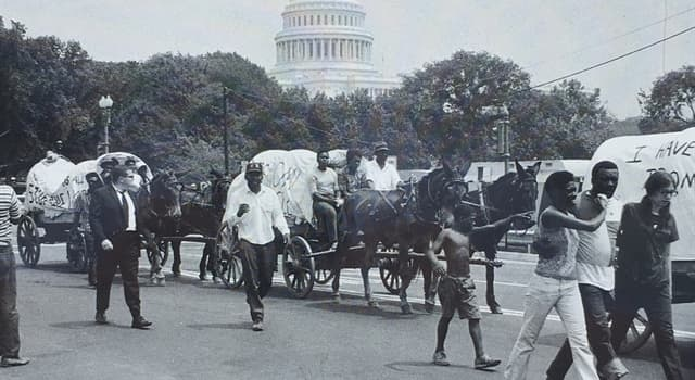 History Trivia Question: How many weeks did participants with the Poor People's March camp out and occupy the Washington Mall in Washington, D.C. in the summer of 1968?