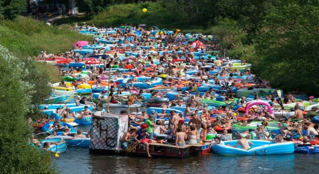 Culture Trivia Question: Where would someone be if taking part in this floating, beer drinking revelry shown in the picture?