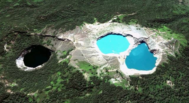 Geography Trivia Question: In which country are there three volcanic lakes that differ and change color on a regular basis?