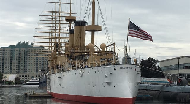 History Trivia Question: The USS Olympia was a United States Navy ship that was used during which wars?