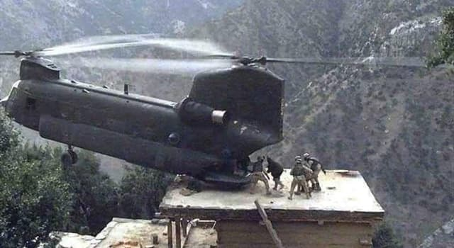 History Trivia Question: Used primarily as a transporter, which US Army helicopter is shown in the picture?