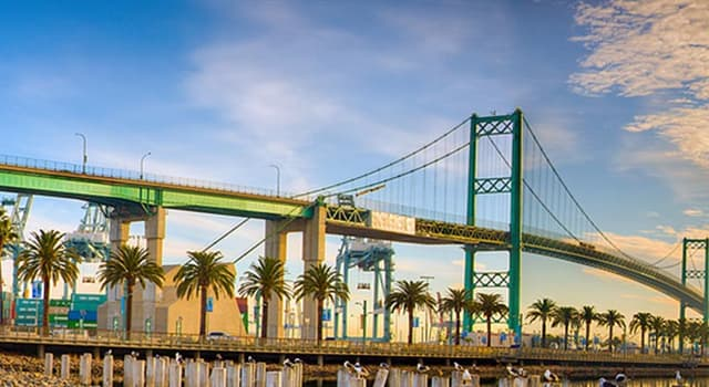 Geography Trivia Question: Which is the only suspension bridge in the Los Angeles metropolitan area?
