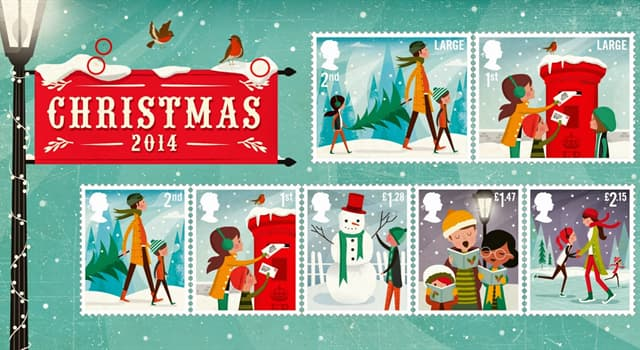 Culture Trivia Question: In which country did the first Christmas stamp appear?