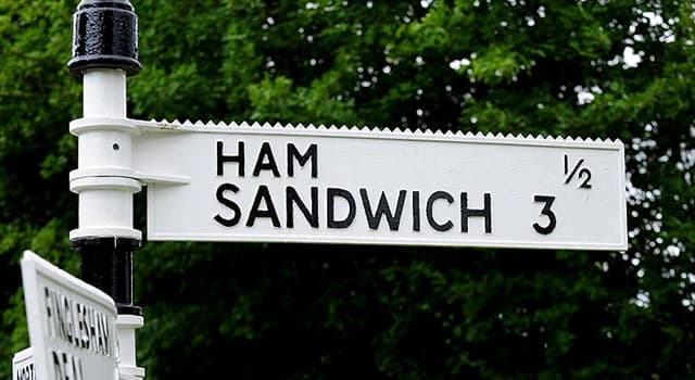Geography Trivia Question: In which English county can you see a signpost that reads Ham ½ mile, Sandwich 3 miles?