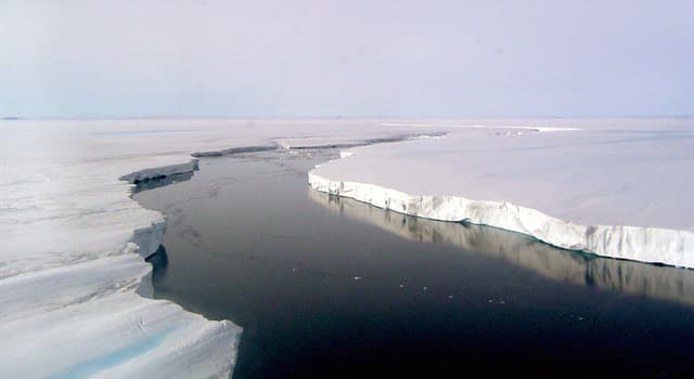 Geography Trivia Question: How many large segments does the Larsen Ice Shelf consist of?