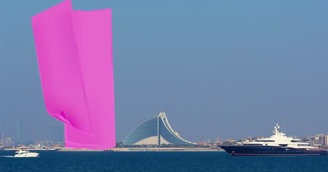 Geography Trivia Question: Which well-known landmark of the UAE is hidden in the picture?